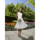 chiffon fashion one shoulder tea length short wedding dresses