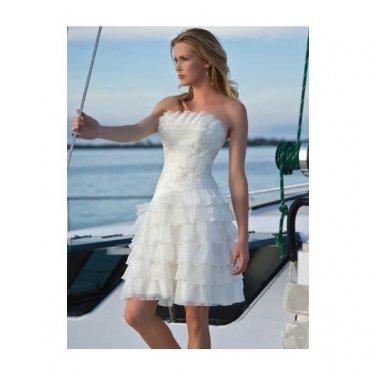 organza strapless neckline with a line summer short wedding dresses