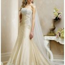 Simple pretty flowery strapless wedding dresses 2012