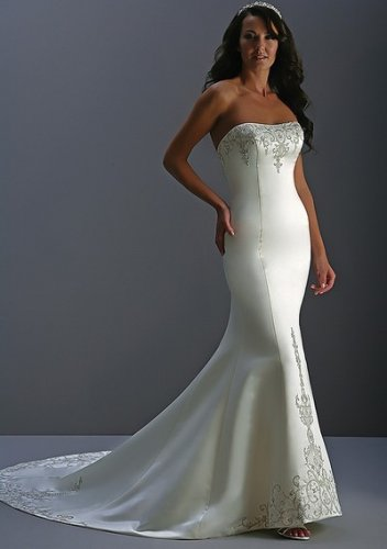 Flowery casual cheap strapless wedding dresses