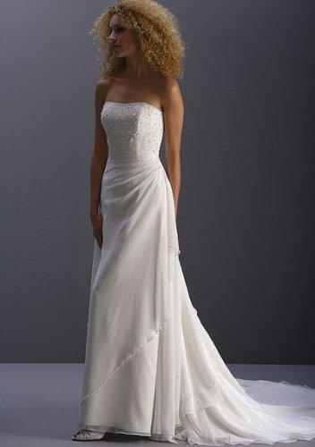 Hot sell beach splendid strapless wedding dresses