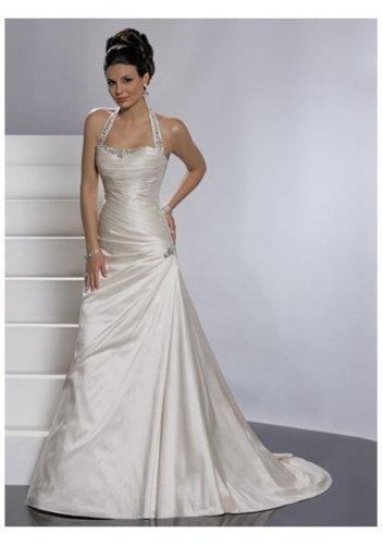 pleated waistline a-line wedding dresses