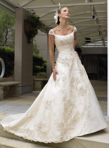 aline cap sleeves chapel train wedding