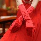 Bride elegant red satin evening gloves
