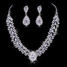Silver white rhinestone bride necklace