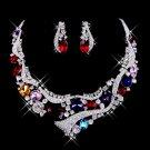 Silver-white alloy Rhinestone Bridal Necklace