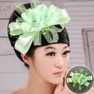Bridal hair accessories green flower touched
