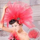 A red lace chiffon wedding flower head