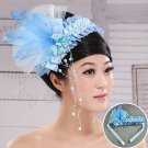 Blue lace bridal feathers flower head