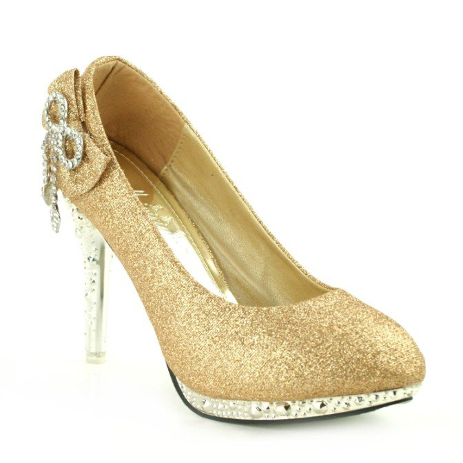 Gold diamond bow bridal shoes