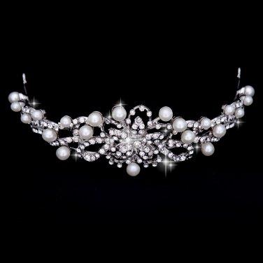 The silver white gems bride Crown