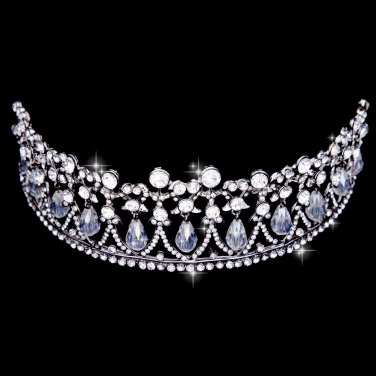 Silver white rhinestone bridal crown