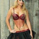 Brilliant Red Black Sequin Ladies Pirate Costume
