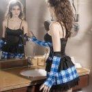 Acrylic Spandex Plaid Pattern School Girl Costume