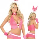 Modern Pink Acrylic Spandex Sexy Bunny Costume