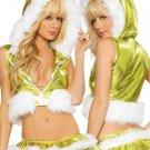 Christmas Hooded Weskit Bra Skirt Leg Warmer