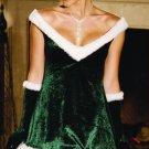 Ladies Velvet Christmas Elf Holiday Costume