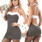 Stripe Pattern Spandex Nylon Sexy Uniform Costume
