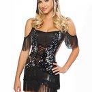 Trendy Black Silver Sequin Womens Fantasy Costume