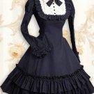 Cotton Deep Blue Long Sleeves Ruffle Classic Lolita Dress