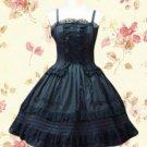 Black spaghetti Pintucks Cotton Classic Lolita Dress