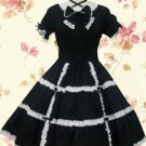 Black Short Sleeves Bow Cotton Classic Lolita Dress
