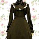 Black Long Sleeves Bow Cotton Lolita Dress