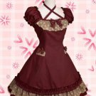 Deep Red Bow Lace Cotton Classic Lolita Dress
