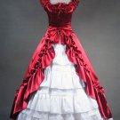 Victorian Classic Lolita Red Satin Long Prom Dress Wedding Dress