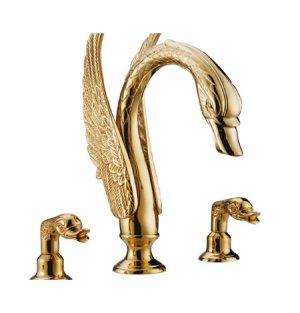 Free shipping 3 PIECE ROMAN Gold BathTUB SWAN  FAUCET  WIDESPREADY swan sink  FAUCET
