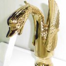 EMS(DHL) Free shipping Gold PVD bathroom basin sink single hole swan faucet