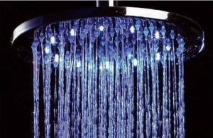 Free shipping brass round  led shower head 25cm