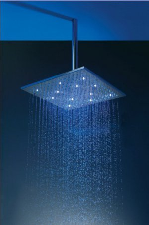 Free shipping stainless steel  square led shower head 40x40cm