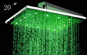 Free shipping Stainless steel square  lED shower head 50cm
