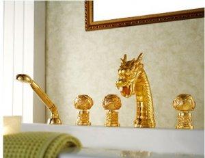 gold pvd clour  dragon bathtub faucet