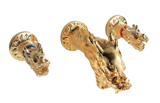 Free shipping wall mounted gold pvd  widespread 8 inch dragon lavatory sink faucet  dragon  handles