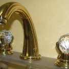 TI-gold clour 8 inch widespread lavatory sink faucet mixer tap Crystal handles deck mounted