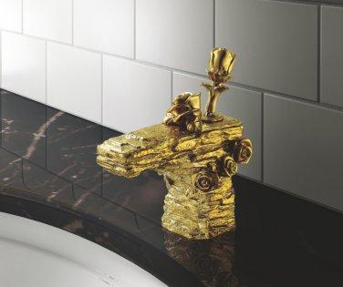 bathroom basin sink single hole flower rose  faucet mixer tap artistic  faucet  modern faucet