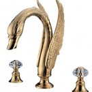 3 PIECEs ROMAN Gold Bath TUB  SWAN  FAUCET  WIDESPREADY swan sink  FAUCET