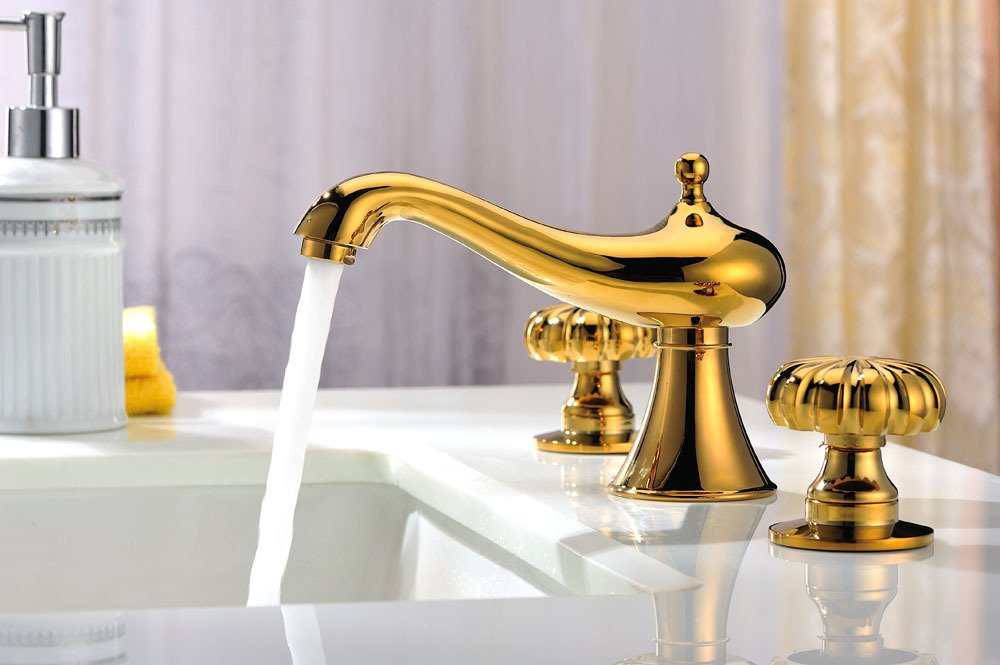new design gold clour 8 inch widespread lavatory sink faucet deck mounted