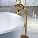 Free standing bathtub floor mounted 24k gold bathroom bathtub  faucet