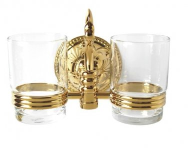 FREE SHIPPING  gold pvd color double flowers TUMBLER HOLDER TEECH CUP