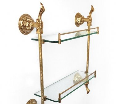 FREE SHIPPING gold double glass shelf