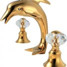 Free shipping gold clour 8 inch widespread lavatory sink faucet dolphin fauet Crystal handles