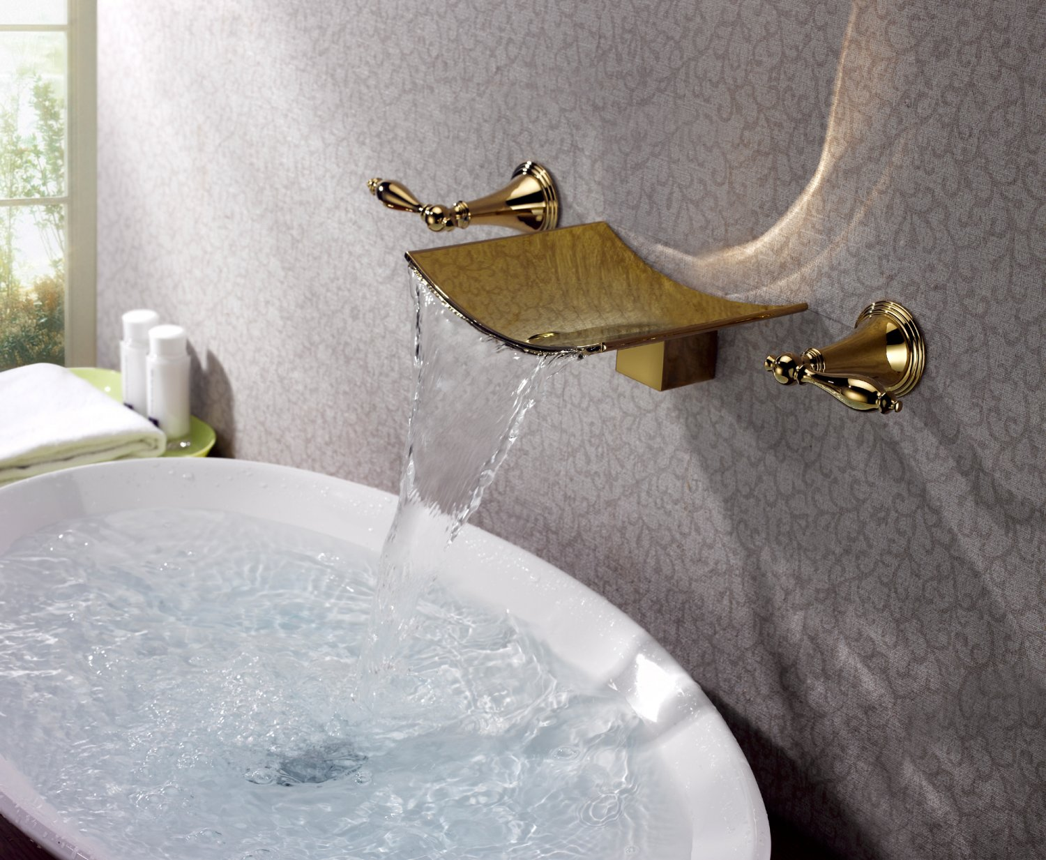 Free shipping polished gold wall mounted watefall sink/ Bathtub faucet