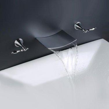 Free shipping polished chrome wall mounted watefall sink/ Bathtub faucet
