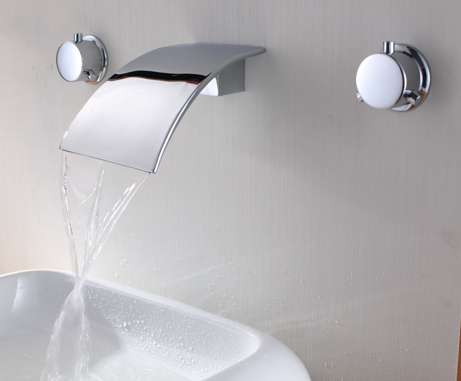 Free shipping polished chrome wall mounted watefall sink/ Bathtub faucet