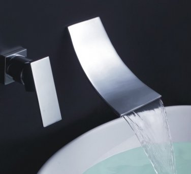 Wall mounted 2 Holes polished chrome waterfall widespread contemporary bathroom sink faucet