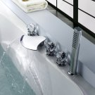 Free shipping crystal handles waterfall mixer tub faucet widespread bathtub  faucet with hand shower