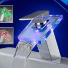 Color Changing LED Waterfall Bathroom Sink Faucets